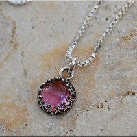 Pink Sapphire Charm Necklace, Pink Sapphire Pendant, Pink Gemstone Charm, Sapphire Jewelry, Sterling Silver Necklace, Gold Filled Necklace