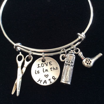 Love is in the Hair Stylist Charm Bangle Scissors Blow Dryer on a Silver Expandable Adjustable Bangle Bracelet Trendy Stacking Handmade Gift