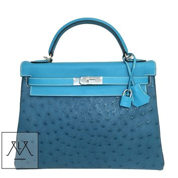 Hermes Kelly Bag 32cm Swift, Clemence & Ostrich - Tri-Color - 100% Authentic