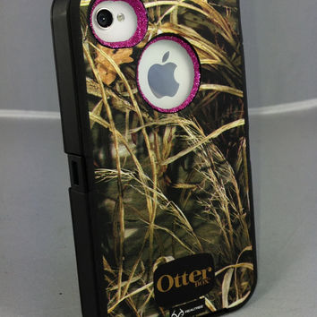 Custom Glitter Otterbox iPhone 4S Defender Series Case for iPhone 4S Max 4 Camo/Raspberry