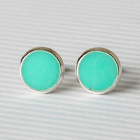 SALE-Mini Mint Post Earrings in Silver