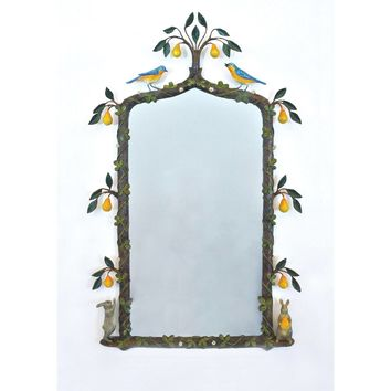 "Birds with Pear Tree Gothic-Framed Mirror - 28"" x 45"""