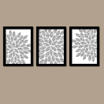 Flower Wall Art, Silver GLITTER Flowers Wall Art, Glitter Bedroom Wall Decor, Canvas or Prints, Glitter Bathroom Decor, Set of 3 Wall Decor