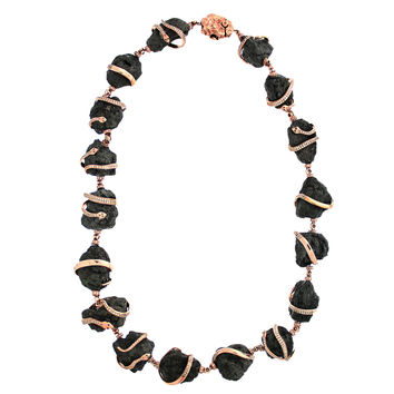 """759.50ct Rough Black Diamonds in 18K Rose Gold Snake Accent Statement Necklace 16"""""""