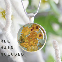 Van Gogh Sunflowers necklace. Romantic gift pendant. Free matching chain is included.