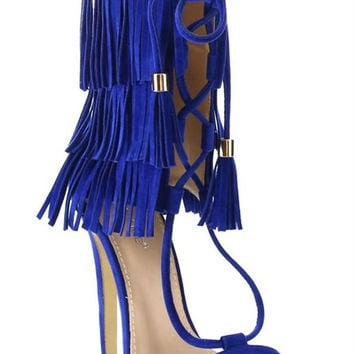 Fiona Fringe Lace Up Heels - Blue