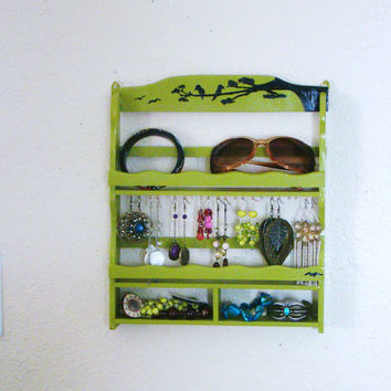 Upcycled and Repurposed Vintage wooden Spice Rack made into a Jewelry/Accessories Organizer/Diplay Case