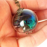 Large Peacock feather necklace