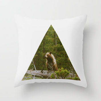 Log Bear Throw Pillow by Kevin Russ | Society6