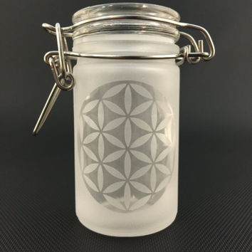Etched Sacred Geometry Airtight Glass Jar