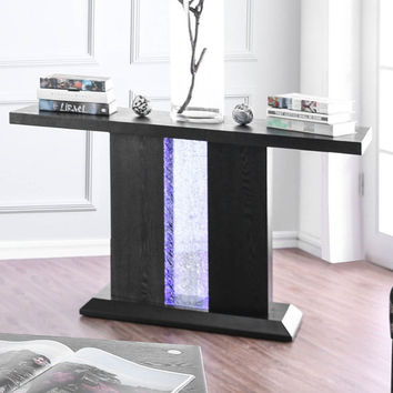 Furniture of america CM4252S Tobias black finish wood sofa entry console table with LED's