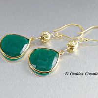 Gold Emerald Earrings Emerald Bezel Set Bali Gold Emerald Gemstone Dangle Earrings May Birthstone