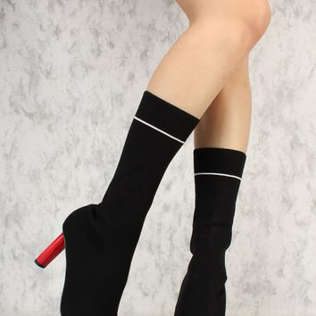 Black Round Toe Mid Calf Rounded Square Chunky Heel Sock Boots