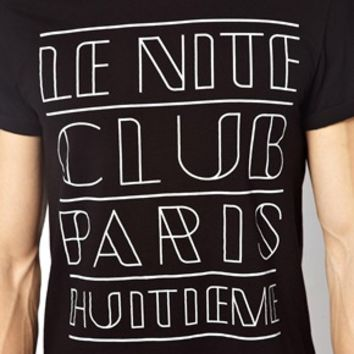 ASOS T-Shirt With Le Nite Club Print And Roll Sleeve