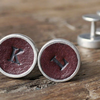 Personalised Leather Cufflink - Vintage Style Handmade in England