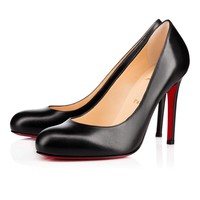 Christian Louboutin Cl Simple Pump Black Leather 100mm Stiletto Heel