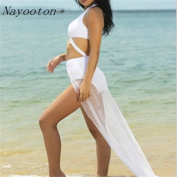 New Cross Straps Black And White Long Skirt Split Swimsuit High-end Quality And A Goddess Of Bikini