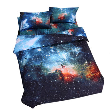 Starry Sky Home Textiles Beding 3D 4 pcs Beding Quilt Cover Flat Sheet Pillow Case x2   06