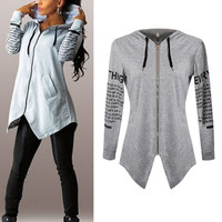 Women HoodiesLletter long-sleeved hooded Harajuku Plus Size Sportswear Coat KL075
