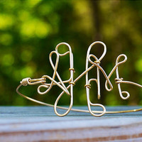 Gold/silver wire monogram bracelet cuff by QueenCityConceptions