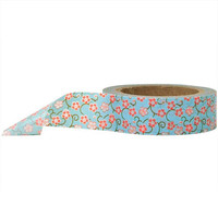Blue and Red Floral Washi Paper Masking Tape, 11 yds/10 Meters, Craft Tape, Scrapbook Embellishment, Paper Tape, Geometric, Gift Wrap