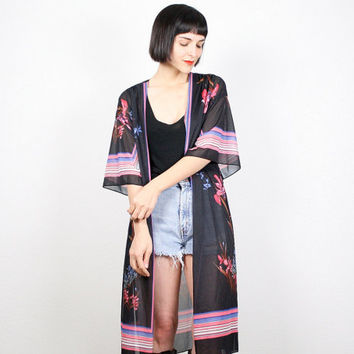 Vintage Kimono Jacket Sheer Duster Jacket Black Pink Scarf Print Kimono Boho Hippie Festival Robe Duster Floral S Small M Medium L Large