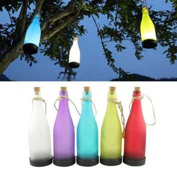 5Pcs Cork Wine Bottle LED Solar Powered Sense Light Outdoor Hanging Garden Lamp For Party Courtyard Patio Path Decoration