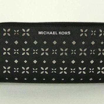 ESBON MICHAEL MICHAEL KORS Jet Set Travel Perforated-Leather Continental Wallet