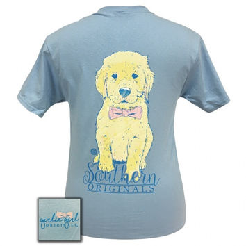 Girlie Girl Preppy Bowtie Puppy Blue T-Shirt