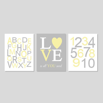 YELLOW GRAY Nursery Wall Art, Gender Neutral Baby, Girl Boy Decor, ABC 123 Love Is All You Need Baby Shower Gift Set of 3 Prints Or Canvas