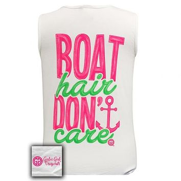 Girlie Girl Boat Hair Dont Care Anchor Comfort Colors Tank Top