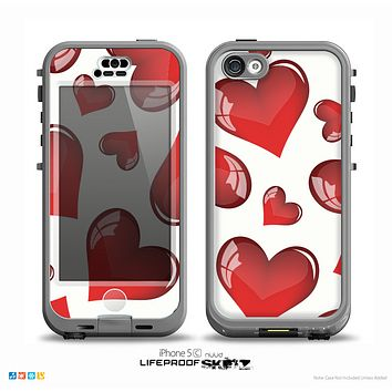 The Glossy Red 3D Love Hearts On White Skin for the iPhone 5c nüüd LifeProof Case