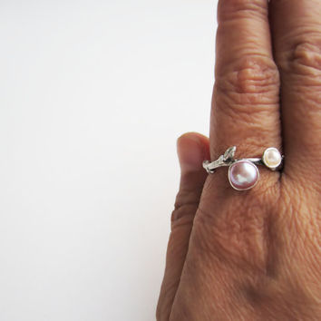 Pearl Silver Twig Ring Pink & White Pearls by EveryBearJewel