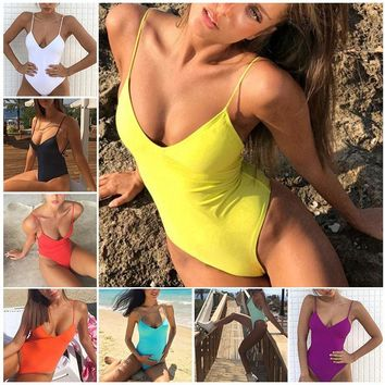 LASPERAL Candy Color Women One Piece Swimsuit Sexy Bandage Padded Brazilian Bikini Push Up Solid Swimwear Halter Maillot De Bain