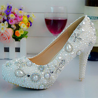 Bow Bead Fashion Handmade Leather Pumps For Wedding Party Evening
