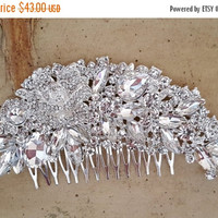 ON SALE Gatsby Wedding Hair Comb, Crystal Bridal Hair Comb, Art Deco Wedding Hair Piece,  Bridal Hair Accessory