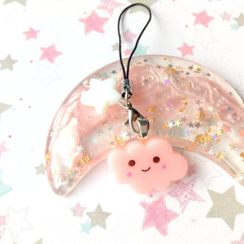 Pink Kawaii Cloud Phone Charm, Cute Cloud Charm, Pastel Star Bead, Sweet Lolita, Fairy Kei, Pastel kei, Anime, Kawaii Resin Planner Charm