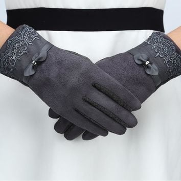 Vintage Wrist Warmers Gloves Women Winter Lace Solid Knitted Chamois Glove Mittens Suede Leather Touch Screen Gloves