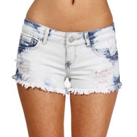White/Medium Acid Wash Denim Shorts