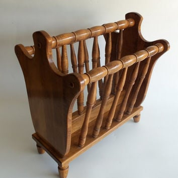 Magazine Rack Vintage Solid Walnut Wood Multiple Spindles Double Sections With Handle Mid Century Furniture Living Room Home Decor Library