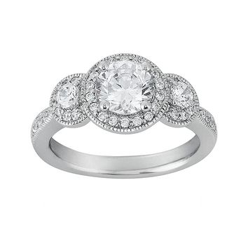 Cherish Always Round-Cut Diamond Engagement Ring in 14k White Gold (1 1/3 ct. T.W.)