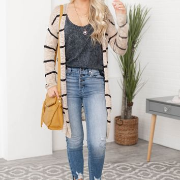 Mercy Pocketed Side Slit Striped Cardigan   Tan