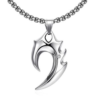 Stainless Steel Blade Emblem Stainless Steel Necklace