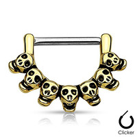 "Pair Body Jewelry 14ga (1.6mm) 1/2""(12mm) Nipple Bar Clicker Ring or Barbell SKULLS Gold Look 316l Surgical Steel"
