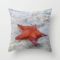 Nautical Decorative Pillow, Ocean Photography Pillow Cover, Orange Starfish Art