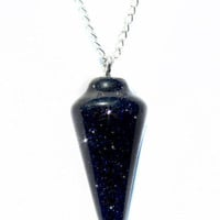 Blue Goldstone Gemstone Pendulum Pendant Necklace