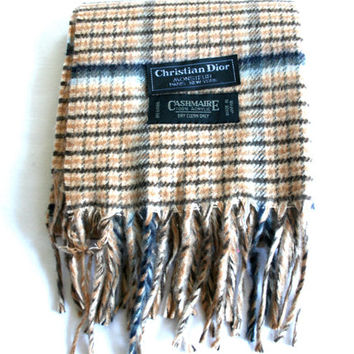 Christian Dior Monsieur Tan Plaid Scarf