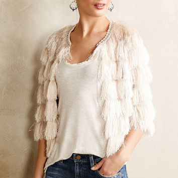 Off-White Crochet Fringed Sleeve Top