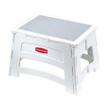Rubbermaid® RM-PL1W Single-Step Plastic Folding Stool, 300 Lb Capacity