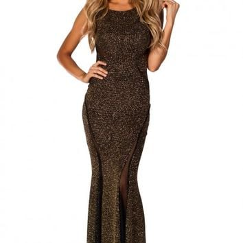Laurenza Black and Gold Glitter Sleeveless Mesh Cut Out Maxi Gown
